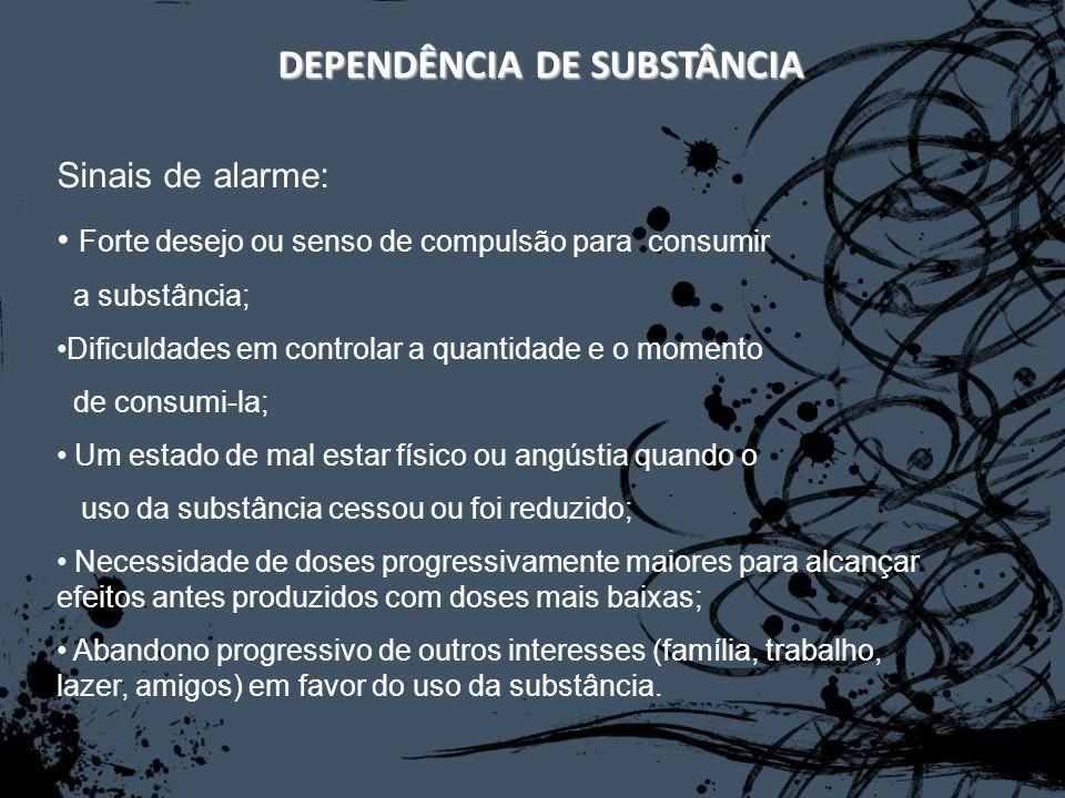 DEPENDÊNCIA DE SUBSTÂNCIA Sinais de alarme: Forte desejo ou senso de compulsão para consumir a substância; Dificuldades em controlar a quantidade e o