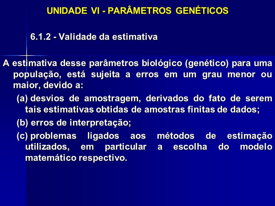 UNIDADE VI - PARÂMETROS GENÉTICOS 6.1.2 - Validade da estimativa A estimativa desse parâmetros biológico (genético) para uma população, está sujeita a