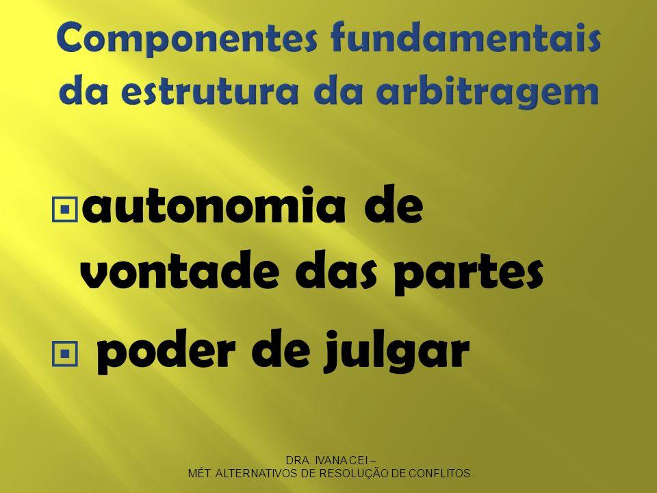 autonomia de vontade das partes poder de julgar DRA. IVANA CEI – MÉT. ALTERNATIVOS DE RESOLUÇÃO DE CONFLITOS.