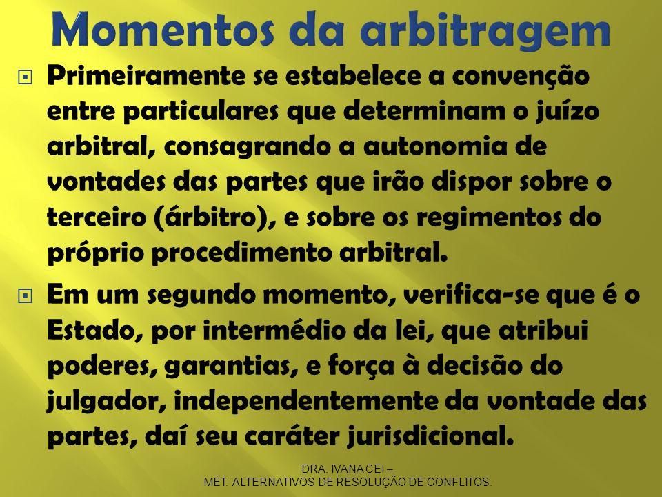 Primeiramente se estabelece a convenção entre particulares que determinam o juízo arbitral, consagrando a autonomia de vontades das partes que irão di