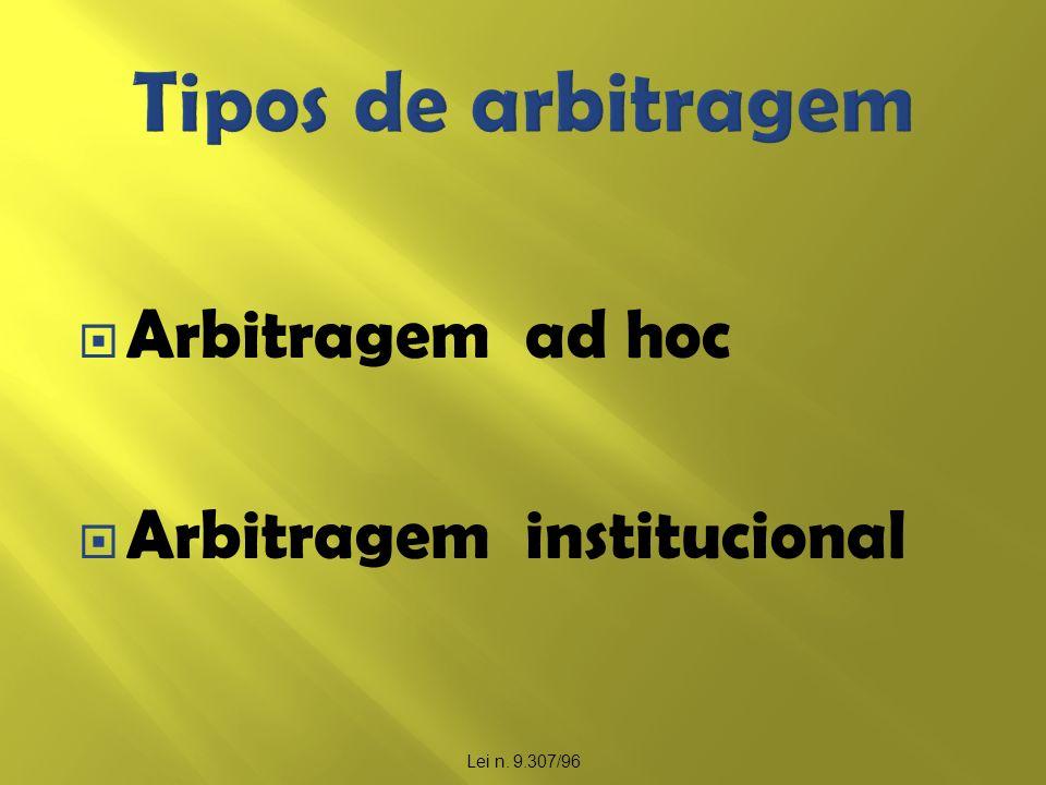 Arbitragem ad hoc Arbitragem institucional Lei n. 9.307/96