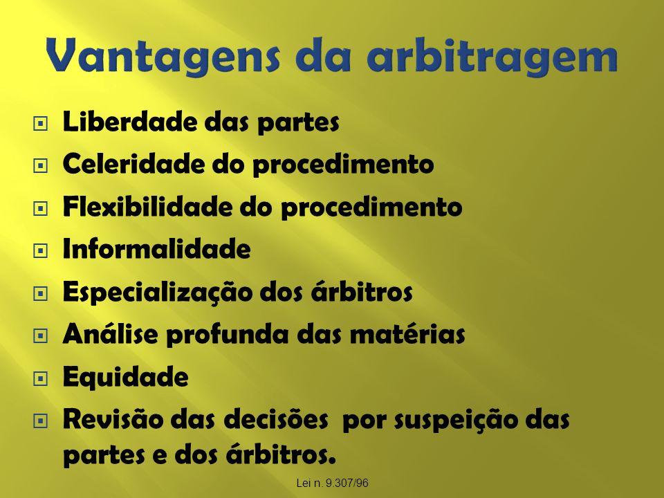 Liberdade das partes Celeridade do procedimento Flexibilidade do procedimento Informalidade Especialização dos árbitros Análise profunda das matérias