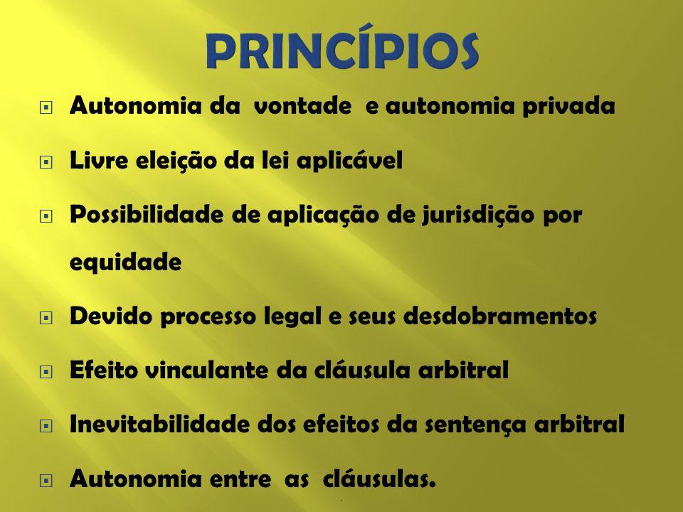 Autonomia da vontade e autonomia privada Livre eleição da lei aplicável Possibilidade de aplicação de jurisdição por equidade Devido processo legal e