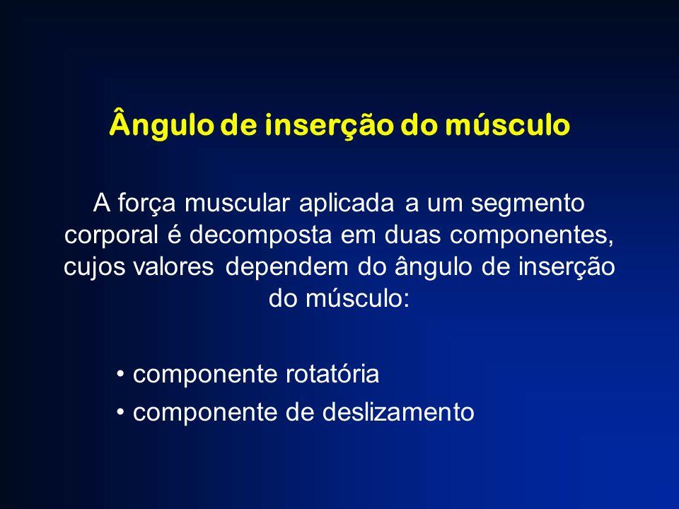 Ângulo de inserção do músculo A força muscular aplicada a um segmento corporal é decomposta em duas componentes, cujos valores dependem do ângulo de i