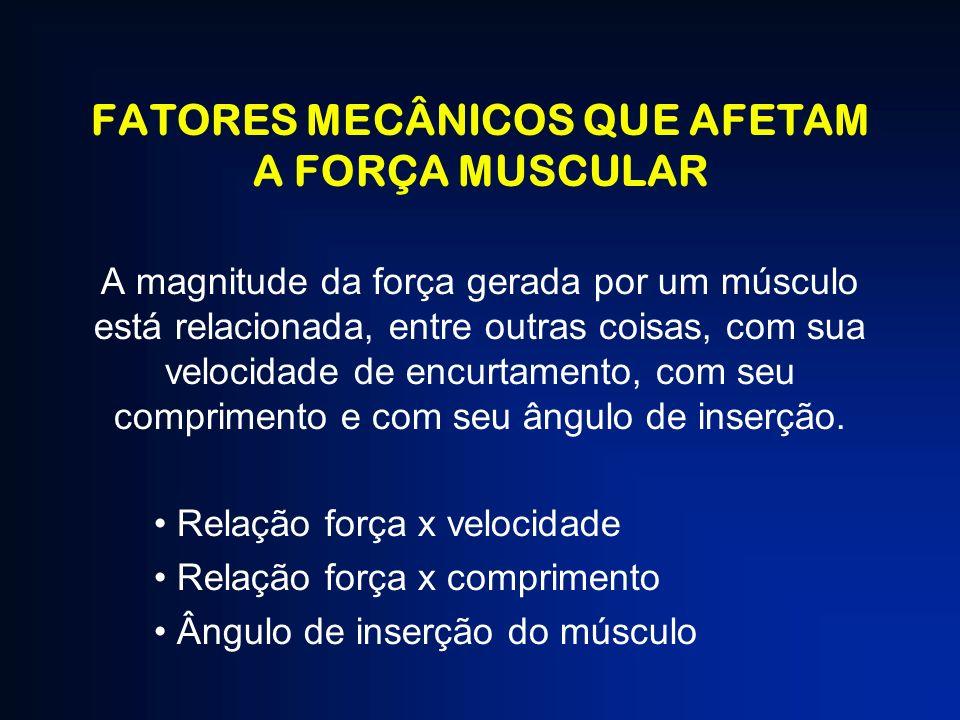 FATORES MECÂNICOS QUE AFETAM A FORÇA MUSCULAR A magnitude da força gerada por um músculo está relacionada, entre outras coisas, com sua velocidade de
