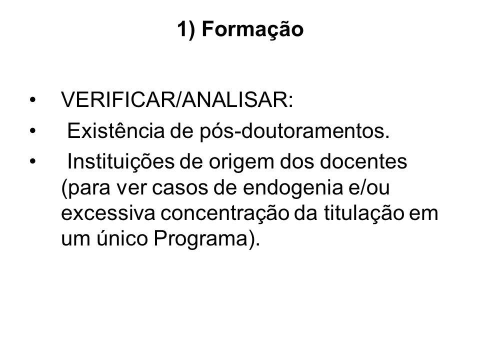 1) Formação VERIFICAR/ANALISAR: Existência de pós-doutoramentos. Instituições de origem dos docentes (para ver casos de endogenia e/ou excessiva conce