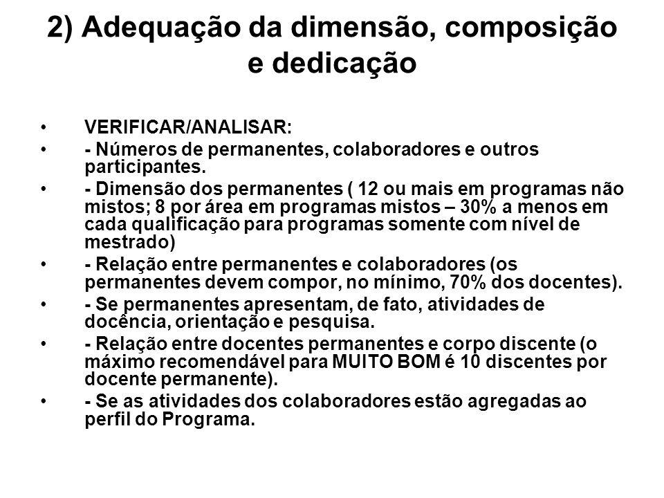 2) Adequação da dimensão, composição e dedicação VERIFICAR/ANALISAR: - Números de permanentes, colaboradores e outros participantes. - Dimensão dos pe