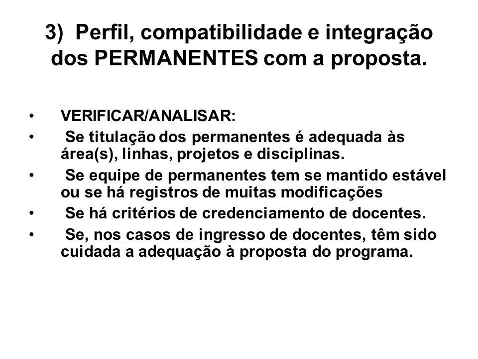 3) Perfil, compatibilidade e integração dos PERMANENTES com a proposta. VERIFICAR/ANALISAR: Se titulação dos permanentes é adequada às área(s), linhas