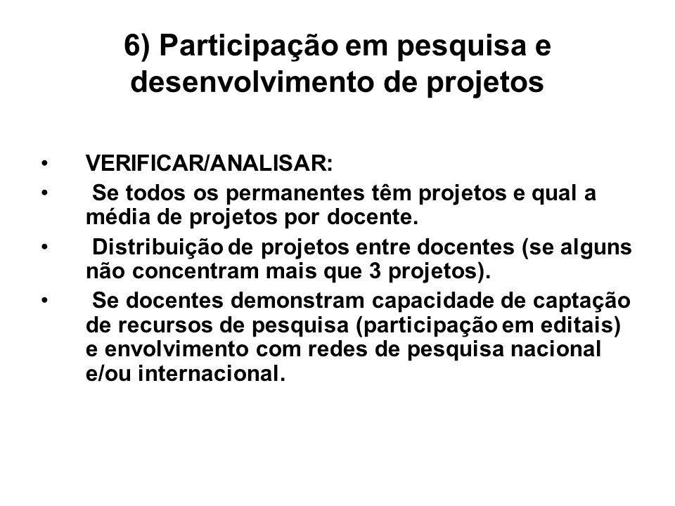 6) Participação em pesquisa e desenvolvimento de projetos VERIFICAR/ANALISAR: Se todos os permanentes têm projetos e qual a média de projetos por docente.