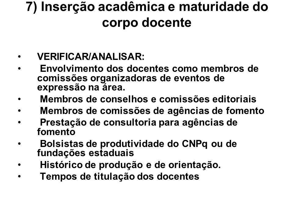 7) Inserção acadêmica e maturidade do corpo docente VERIFICAR/ANALISAR: Envolvimento dos docentes como membros de comissões organizadoras de eventos d