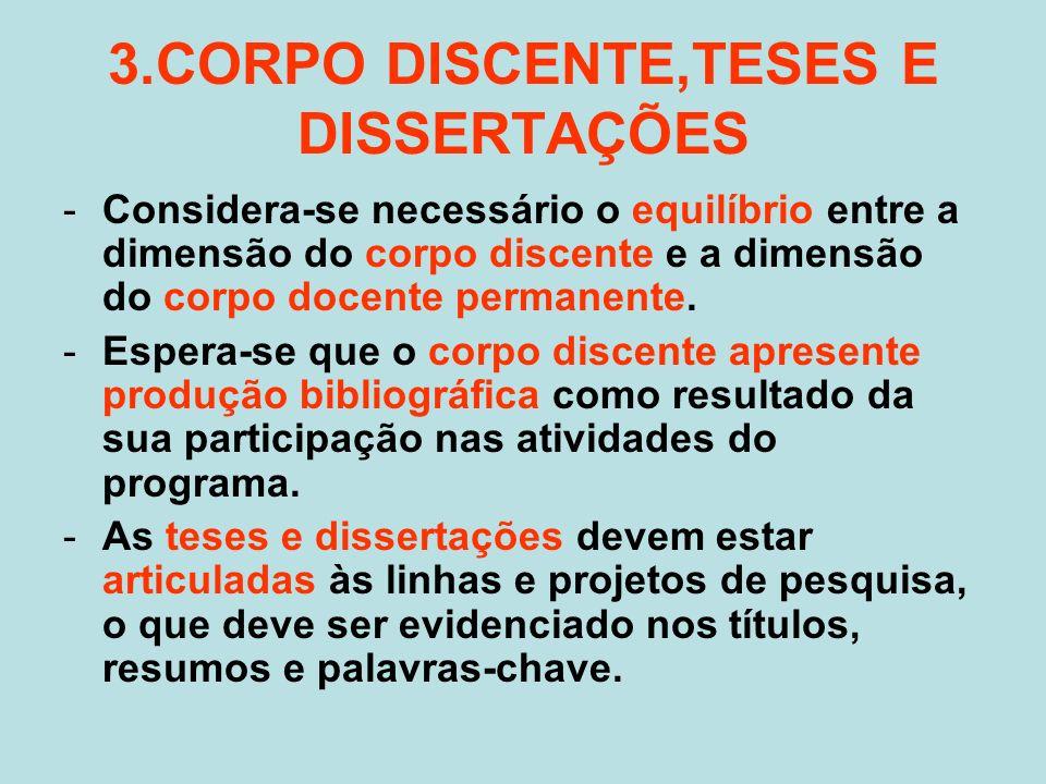 3.CORPO DISCENTE,TESES E DISSERTAÇÕES -Considera-se necessário o equilíbrio entre a dimensão do corpo discente e a dimensão do corpo docente permanente.
