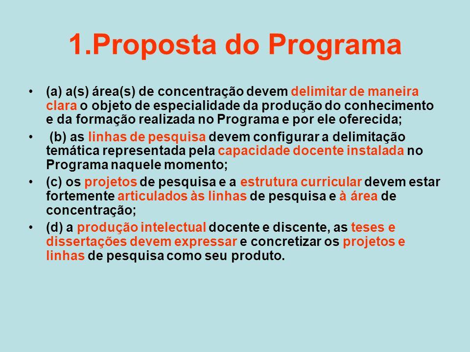1.Proposta do Programa (a) a(s) área(s) de concentração devem delimitar de maneira clara o objeto de especialidade da produção do conhecimento e da fo