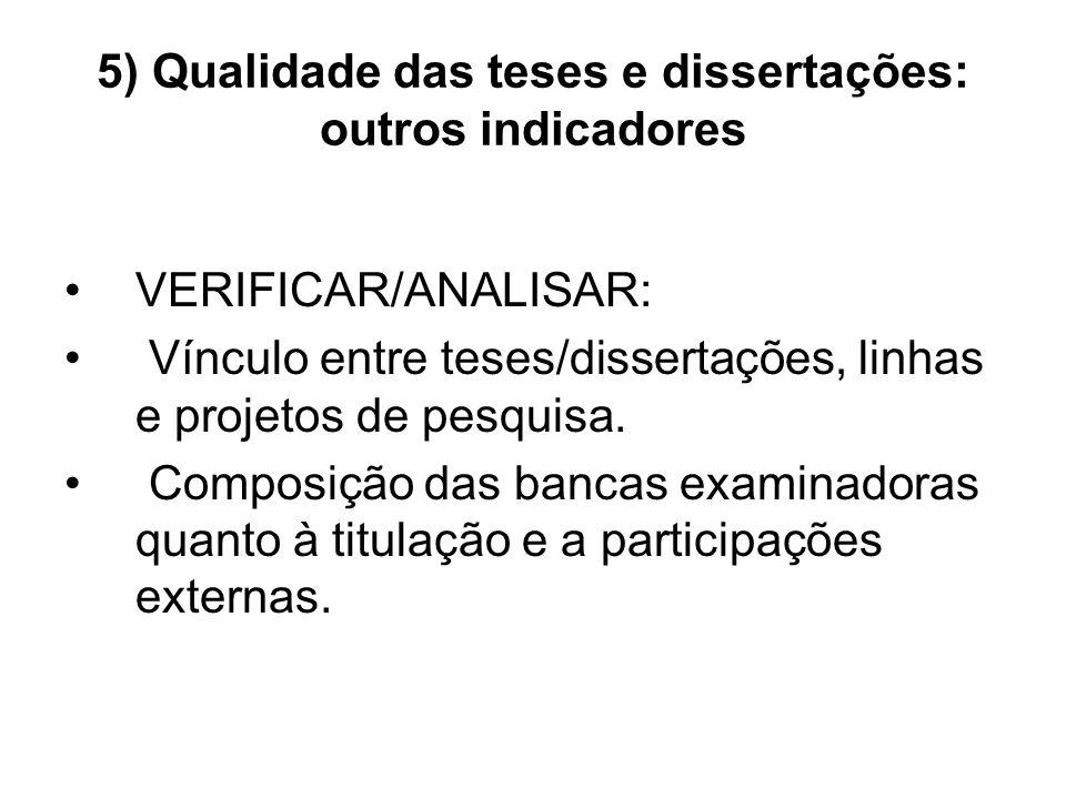 5) Qualidade das teses e dissertações: outros indicadores VERIFICAR/ANALISAR: Vínculo entre teses/dissertações, linhas e projetos de pesquisa.