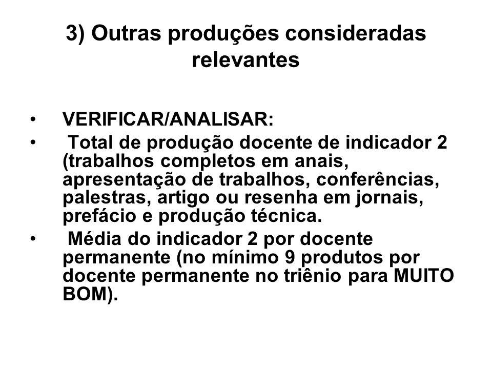 3) Outras produções consideradas relevantes VERIFICAR/ANALISAR: Total de produção docente de indicador 2 (trabalhos completos em anais, apresentação d