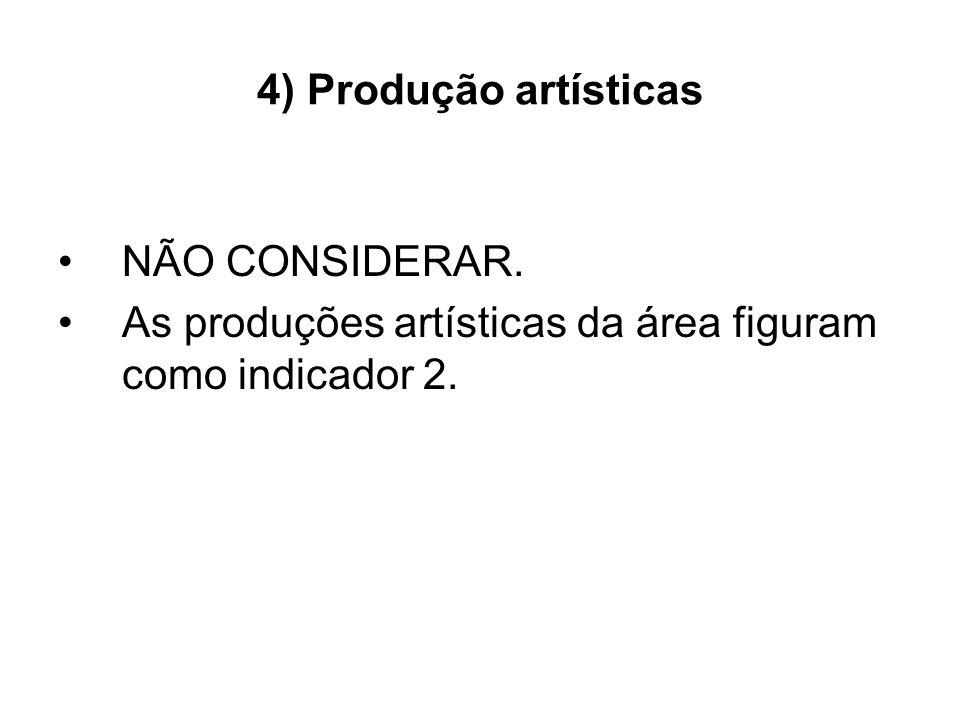 4) Produção artísticas NÃO CONSIDERAR. As produções artísticas da área figuram como indicador 2.