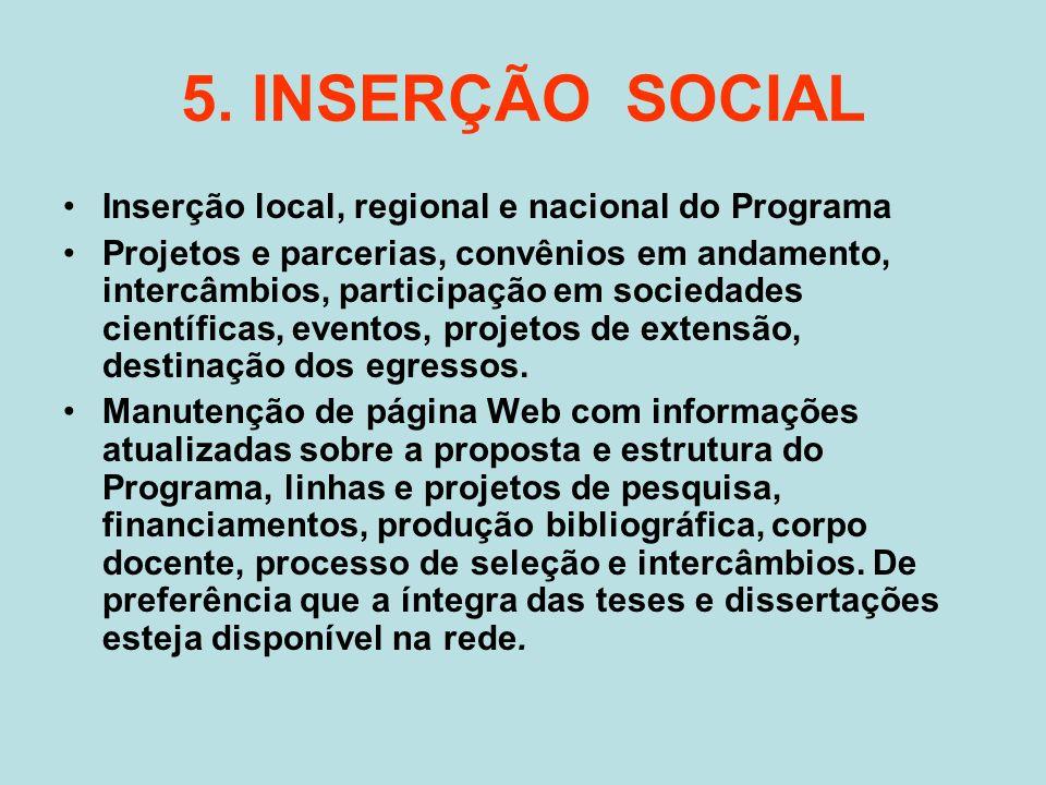 5. INSERÇÃO SOCIAL Inserção local, regional e nacional do Programa Projetos e parcerias, convênios em andamento, intercâmbios, participação em socieda