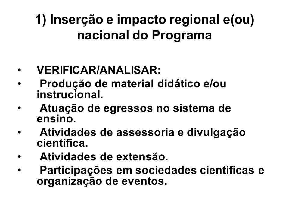 1) Inserção e impacto regional e(ou) nacional do Programa VERIFICAR/ANALISAR: Produção de material didático e/ou instrucional. Atuação de egressos no