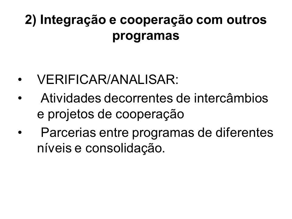 2) Integração e cooperação com outros programas VERIFICAR/ANALISAR: Atividades decorrentes de intercâmbios e projetos de cooperação Parcerias entre programas de diferentes níveis e consolidação.