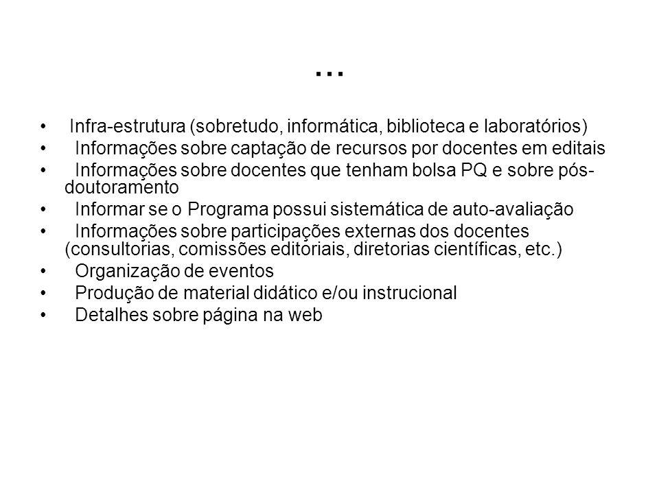 ... Infra-estrutura (sobretudo, informática, biblioteca e laboratórios) Informações sobre captação de recursos por docentes em editais Informações sob