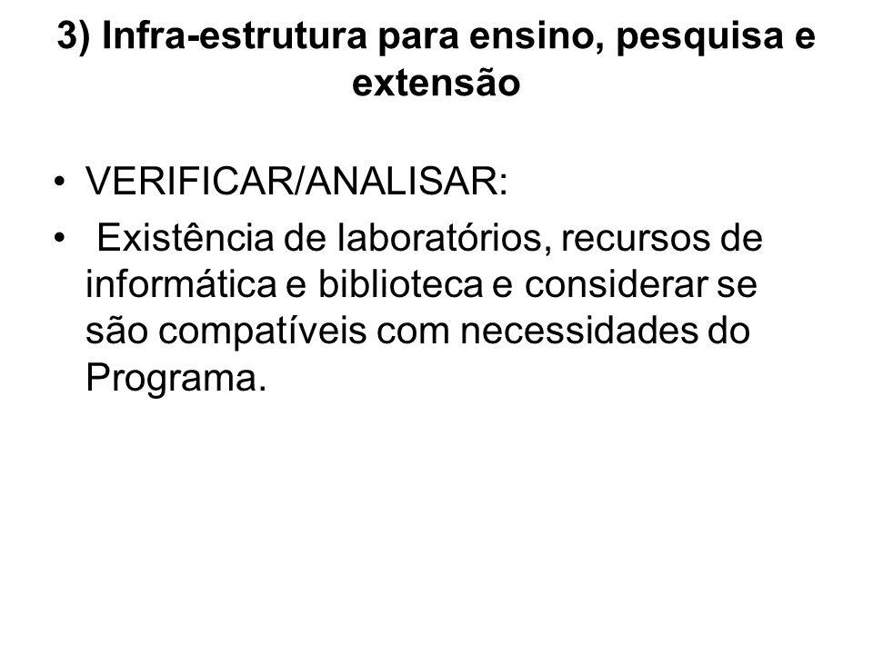 3) Infra-estrutura para ensino, pesquisa e extensão VERIFICAR/ANALISAR: Existência de laboratórios, recursos de informática e biblioteca e considerar se são compatíveis com necessidades do Programa.