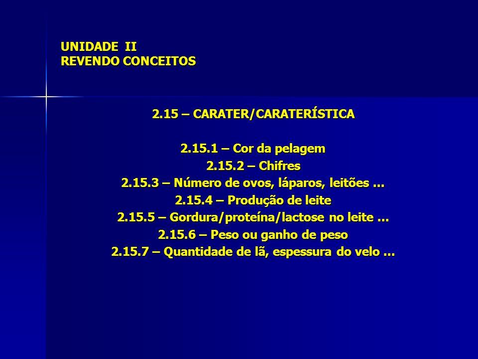 UNIDADE II REVENDO CONCEITOS 2.15 – CARATER/CARATERÍSTICA 2.15.1 – Cor da pelagem 2.15.2 – Chifres 2.15.3 – Número de ovos, láparos, leitões... 2.15.4