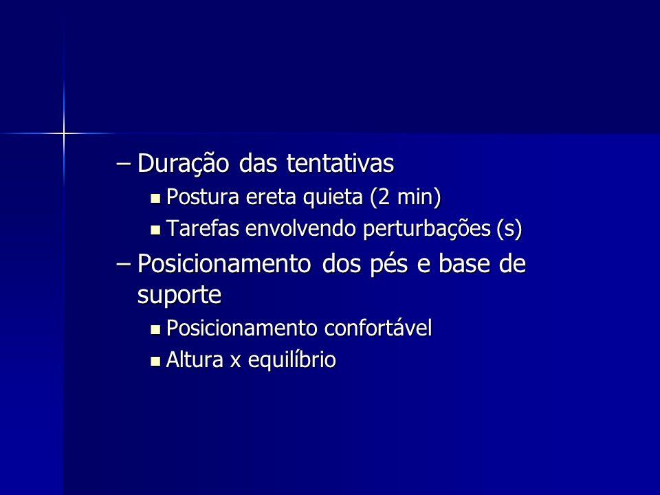 –Duração das tentativas Postura ereta quieta (2 min) Postura ereta quieta (2 min) Tarefas envolvendo perturbações (s) Tarefas envolvendo perturbações