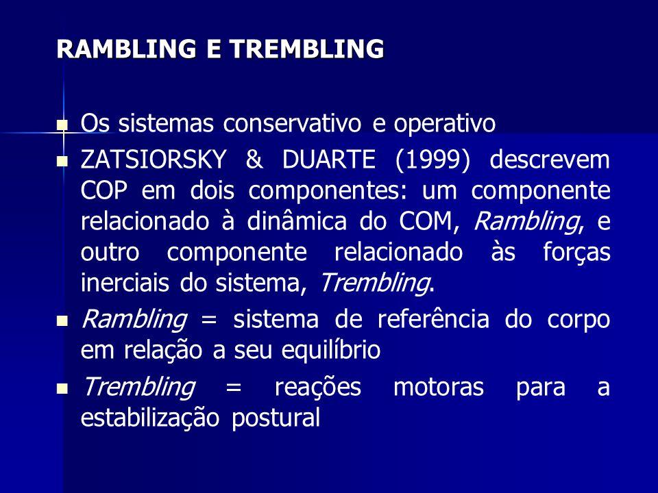 RAMBLING E TREMBLING Os sistemas conservativo e operativo ZATSIORSKY & DUARTE (1999) descrevem COP em dois componentes: um componente relacionado à di