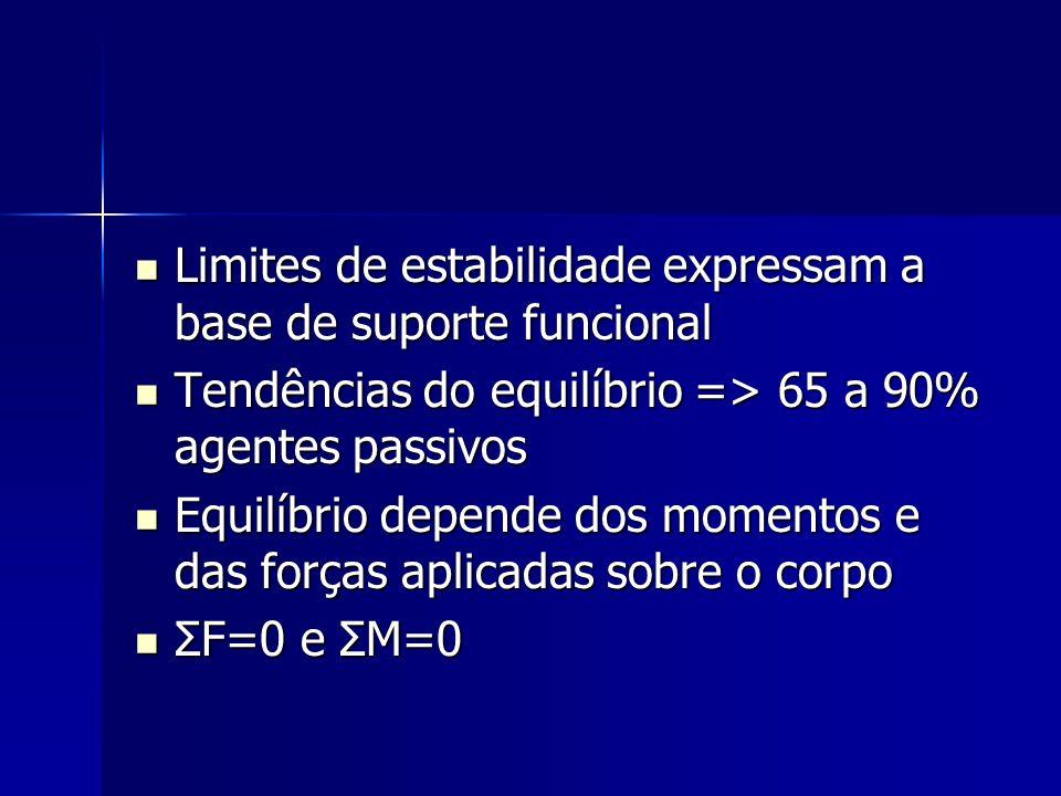 –Área (elipse) Estima a dispersão dos dados do COP pela área do estatocinesigrama Estima a dispersão dos dados do COP pela área do estatocinesigrama –Velocidade média (VM) e Velocidade média total (VMT) Determina quão rápido foram os deslocamentos Determina quão rápido foram os deslocamentos VM = é calculada para cada direção do COP VM = é calculada para cada direção do COP VMT = calculada pela trajetória dos deslocamentos dividida pelo tempo da tentativa VMT = calculada pela trajetória dos deslocamentos dividida pelo tempo da tentativa