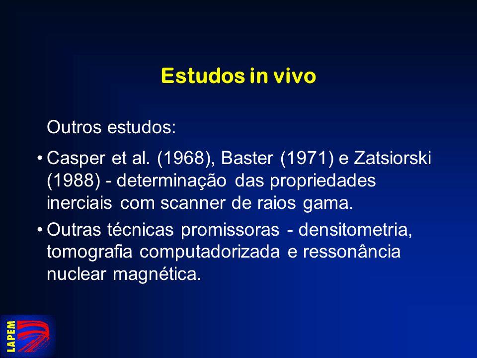 Estudos in vivo Outros estudos: Casper et al. (1968), Baster (1971) e Zatsiorski (1988) - determinação das propriedades inerciais com scanner de raios