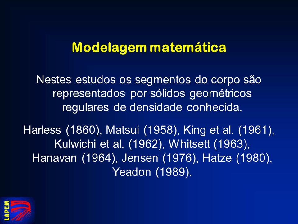 Modelagem matemática Nestes estudos os segmentos do corpo são representados por sólidos geométricos regulares de densidade conhecida. Harless (1860),