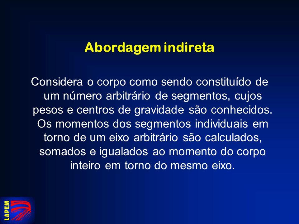 Abordagem indireta Considera o corpo como sendo constituído de um número arbitrário de segmentos, cujos pesos e centros de gravidade são conhecidos. O