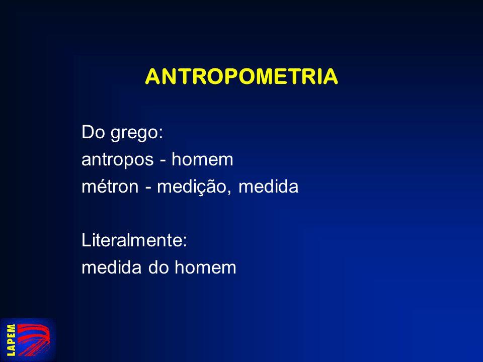 ANTROPOMETRIA Três parâmetros segmentares principais: peso relativo raio proximal (posição do CG) momentos de inércia