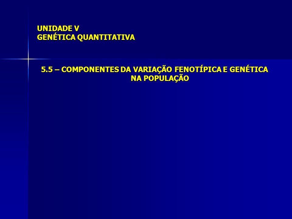 UNIDADE V GENÉTICA QUANTITATIVA 5.5 – COMPONENTES DA VARIAÇÃO FENOTÍPICA E GENÉTICA NA POPULAÇÃO