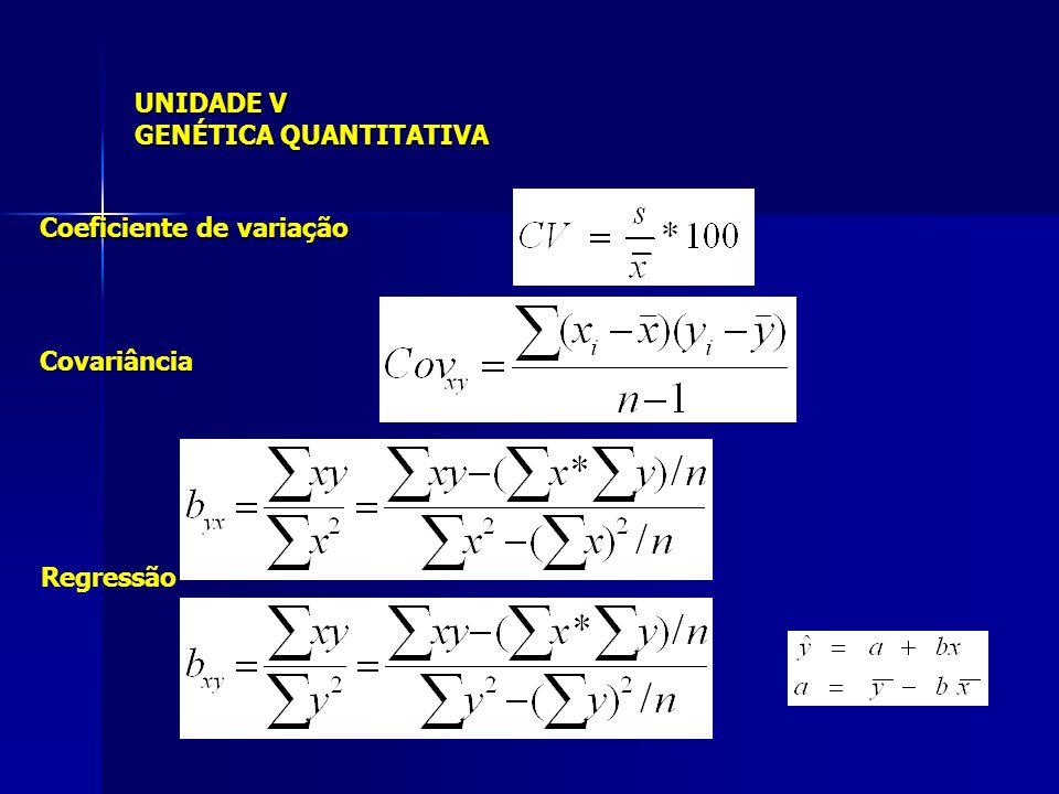 UNIDADE V GENÉTICA QUANTITATIVA Coeficiente de variação Covariância Regressão
