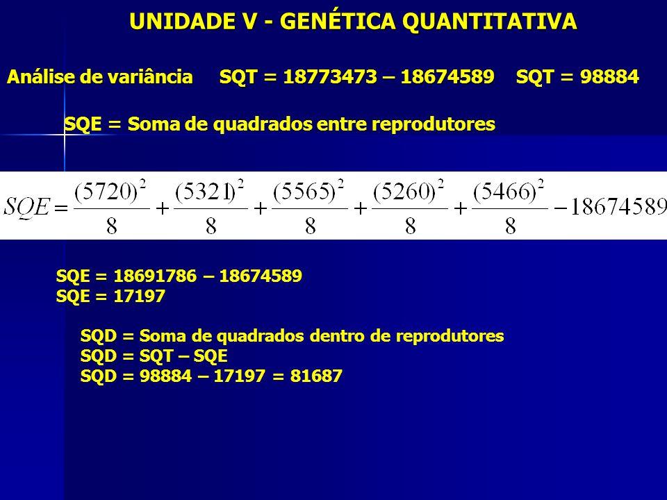 UNIDADE V - GENÉTICA QUANTITATIVA Análise de variância SQT = 18773473 – 18674589 Análise de variância SQT = 18773473 – 18674589 SQT = 98884 SQE = Soma