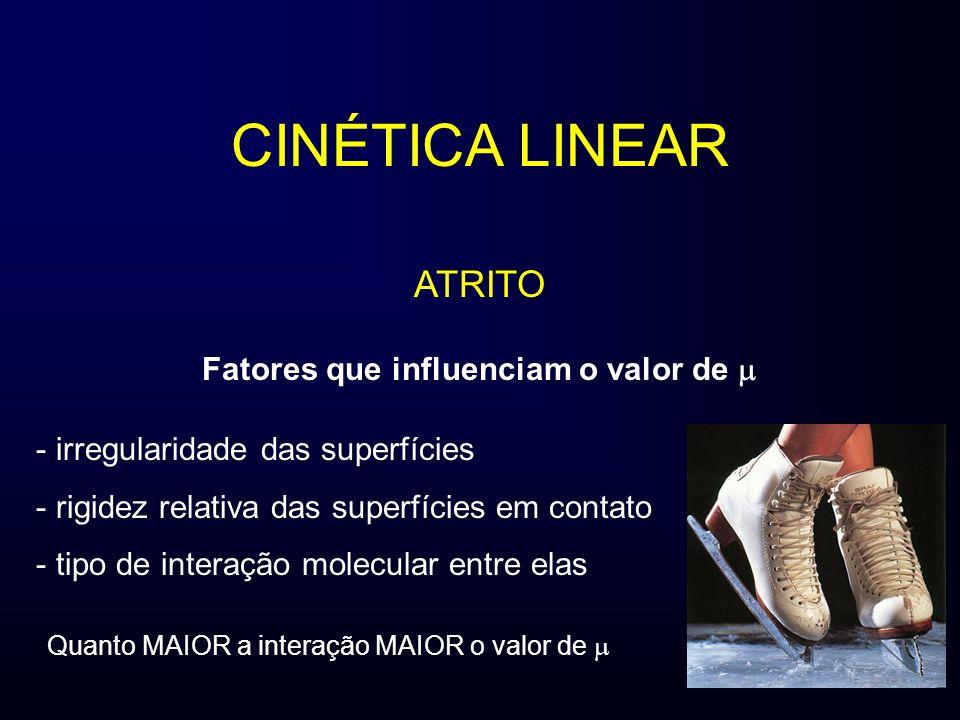 CINÉTICA LINEAR ATRITO Fatores que influenciam o valor de - irregularidade das superfícies - rigidez relativa das superfícies em contato - tipo de int