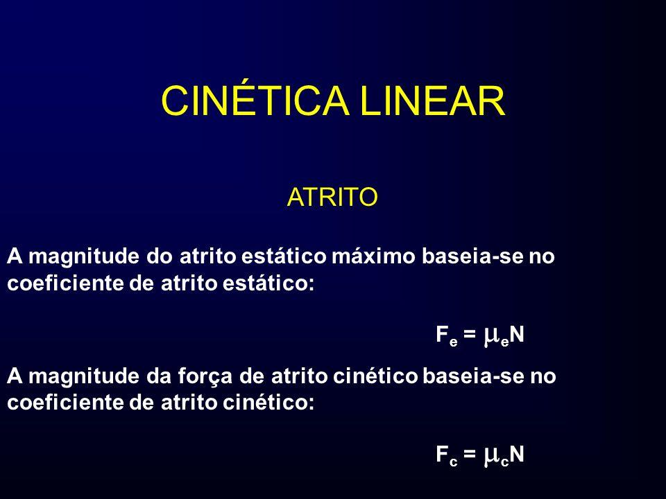 CINÉTICA LINEAR ATRITO A magnitude do atrito estático máximo baseia-se no coeficiente de atrito estático: F e = e N A magnitude da força de atrito cin