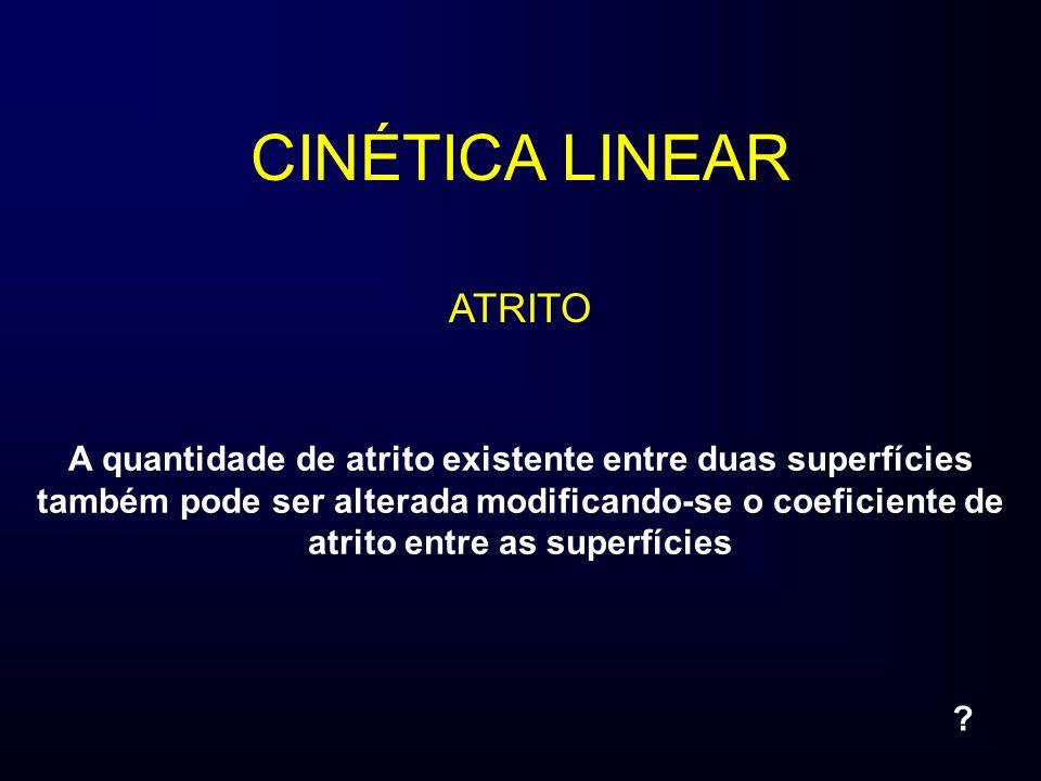 CINÉTICA LINEAR ATRITO A quantidade de atrito existente entre duas superfícies também pode ser alterada modificando-se o coeficiente de atrito entre a