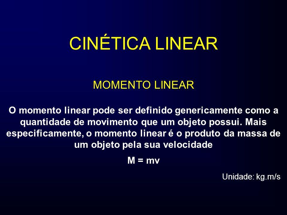 CINÉTICA LINEAR MOMENTO LINEAR O momento linear pode ser definido genericamente como a quantidade de movimento que um objeto possui. Mais especificame