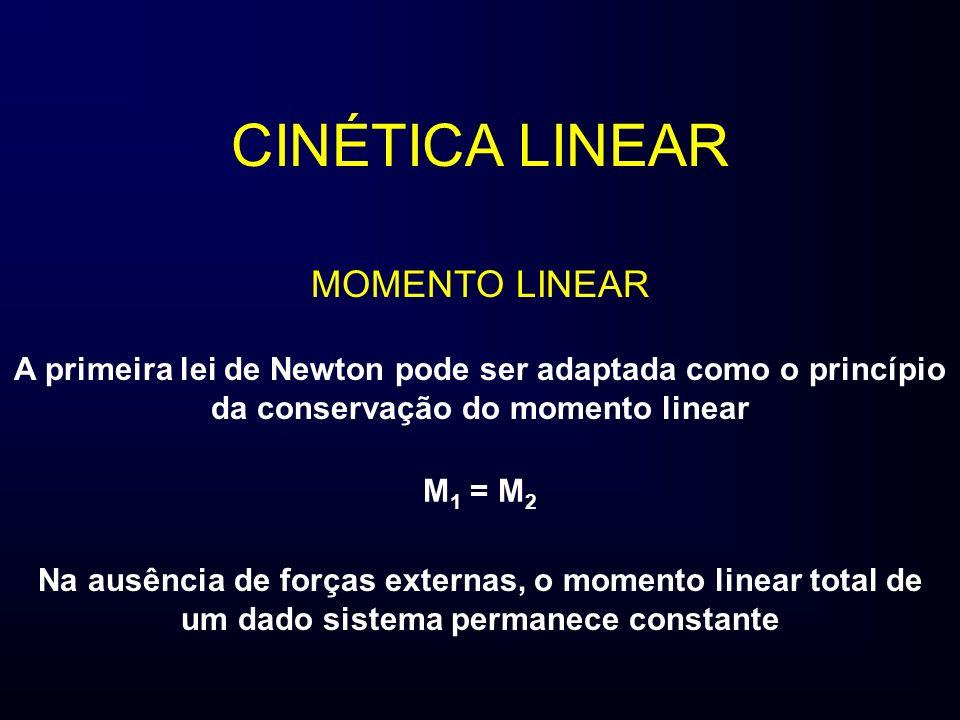 CINÉTICA LINEAR MOMENTO LINEAR A primeira lei de Newton pode ser adaptada como o princípio da conservação do momento linear Na ausência de forças exte