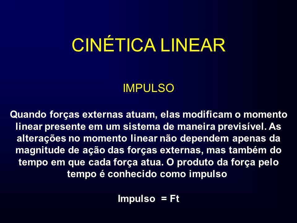 CINÉTICA LINEAR IMPULSO Quando forças externas atuam, elas modificam o momento linear presente em um sistema de maneira previsível. As alterações no m