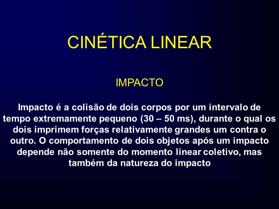 CINÉTICA LINEAR IMPACTO Impacto é a colisão de dois corpos por um intervalo de tempo extremamente pequeno (30 – 50 ms), durante o qual os dois imprime