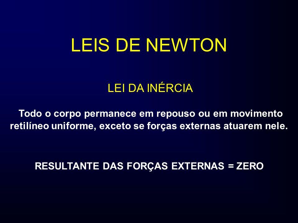 LEIS DE NEWTON Todo o corpo permanece em repouso ou em movimento retilíneo uniforme, exceto se forças externas atuarem nele. LEI DA INÉRCIA RESULTANTE