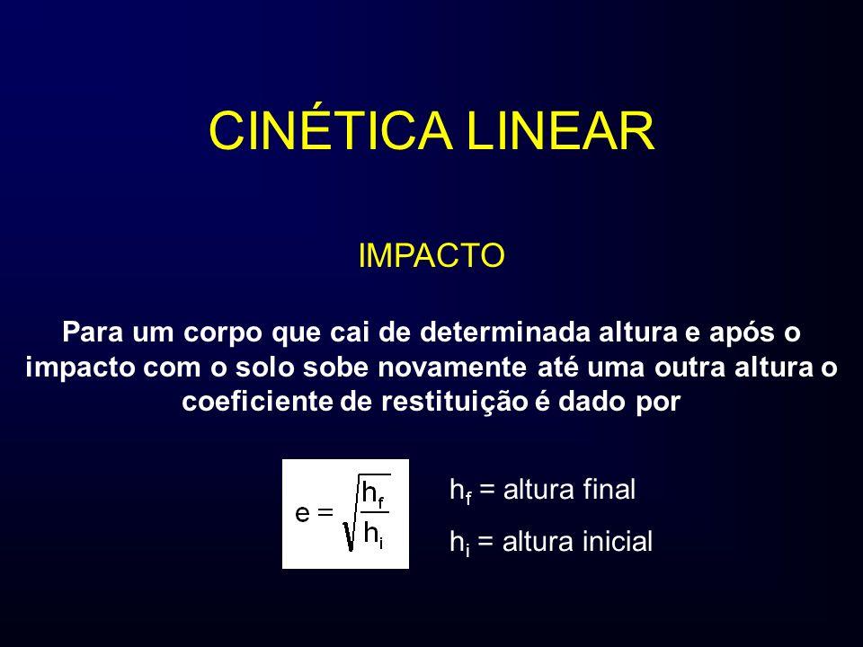 CINÉTICA LINEAR IMPACTO Para um corpo que cai de determinada altura e após o impacto com o solo sobe novamente até uma outra altura o coeficiente de r