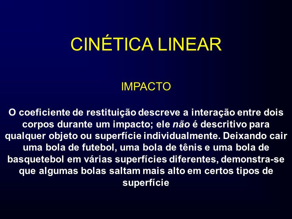CINÉTICA LINEAR IMPACTO O coeficiente de restituição descreve a interação entre dois corpos durante um impacto; ele não é descritivo para qualquer obj