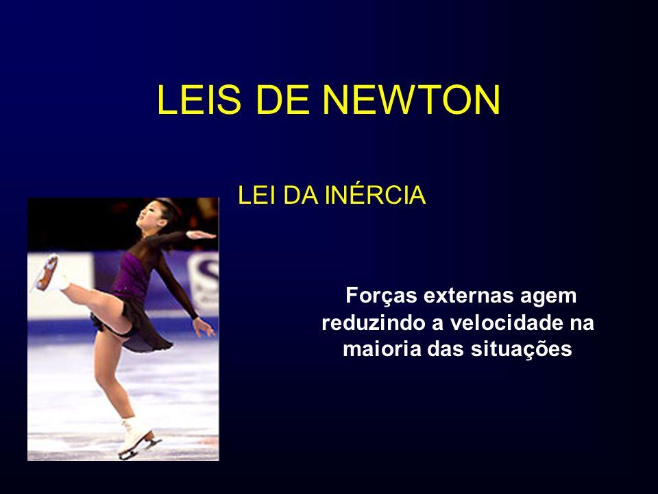 LEIS DE NEWTON Forças externas agem reduzindo a velocidade na maioria das situações LEI DA INÉRCIA