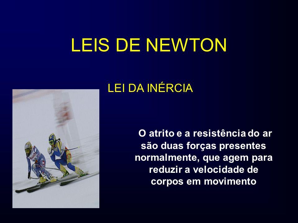LEIS DE NEWTON O atrito e a resistência do ar são duas forças presentes normalmente, que agem para reduzir a velocidade de corpos em movimento LEI DA