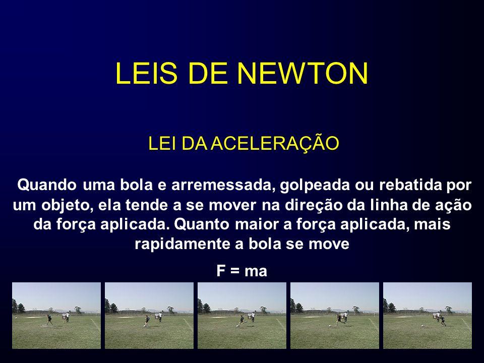 LEIS DE NEWTON Quando uma bola e arremessada, golpeada ou rebatida por um objeto, ela tende a se mover na direção da linha de ação da força aplicada.