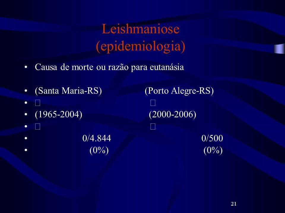 21 Leishmaniose (epidemiologia) Causa de morte ou razão para eutanásia (Santa Maria-RS) (Porto Alegre-RS) (1965-2004) (2000-2006) 0/4.844 0/500 (0%) (