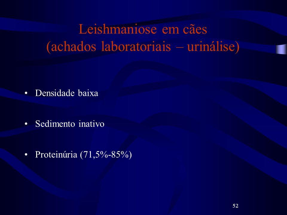 52 Leishmaniose em cães (achados laboratoriais – urinálise) Densidade baixa Sedimento inativo Proteinúria (71,5%-85%)